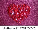 Valentine Concept . Red Pieces...