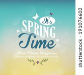 spring time typographic  | Shutterstock .eps vector #191076602