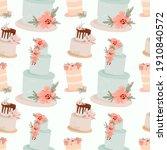 wedding cake seamless pattern.... | Shutterstock .eps vector #1910840572