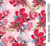 beautiful seamless floral... | Shutterstock . vector #1910853502