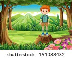 illustration of a boy at the... | Shutterstock . vector #191088482