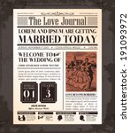 vintage newspaper journal... | Shutterstock .eps vector #191093972