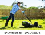 cute man mowing lawn in the... | Shutterstock . vector #191098076