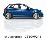 Blue 3d Hatchback Car...