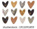vector hand drawn hearts... | Shutterstock .eps vector #1911091855