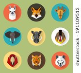Animal Portrait Set With Flat...