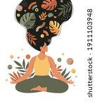 mindfulness  meditation and... | Shutterstock .eps vector #1911103948