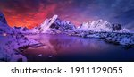 Magical evening in Lofoten. North fjords with mountains landscape. scenic photo of winter mountains and vivid colorful sky. stunning natural background. Picturesque Scenery of Lofoten islands. Norway