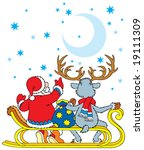 santa clause and reindeer...   Shutterstock .eps vector #19111309