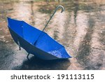 Umbrella In The Rain In Vintage ...