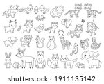 big animals set for coloring... | Shutterstock .eps vector #1911135142