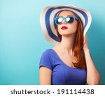 redhead girl with sunglasses... | Shutterstock . vector #191114438