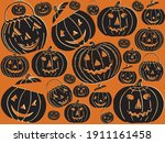 vintage jack o lanterns  retro...   Shutterstock .eps vector #1911161458