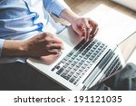 elegant business multitasking... | Shutterstock . vector #191121035