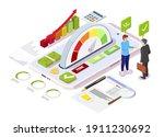 isometric credit score gauge... | Shutterstock .eps vector #1911230692