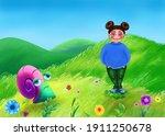 A Cheerful Girl On A Summer...