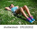 relaxed female runner resting...   Shutterstock . vector #191132312