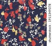 Retro Wild Flower Pattern In...