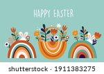 boho easter concept design ... | Shutterstock .eps vector #1911383275