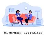 two female friends drinking tea ... | Shutterstock .eps vector #1911421618