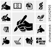 writing  icons set on gray.  | Shutterstock .eps vector #191142905