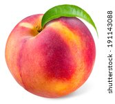 Peach With Leaf Isolated On...