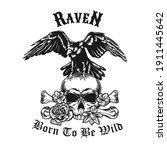 raven with skull emblem design. ... | Shutterstock .eps vector #1911445642