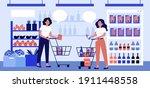 two women talking in... | Shutterstock .eps vector #1911448558