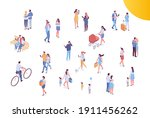 people crowd  city street... | Shutterstock .eps vector #1911456262