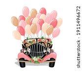 retro wedding car decorated... | Shutterstock .eps vector #1911496672