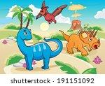 cartoon dinosaurs | Shutterstock .eps vector #191151092