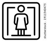 Woman Toilet Sign Icon. Outline ...