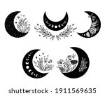 Floral Moon Clipart. Moon Phase ...
