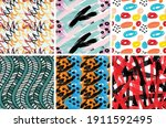 seamless pattern set with rough ... | Shutterstock .eps vector #1911592495