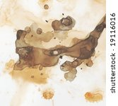 Splash of burnt umber watercolor paint. - stock photo