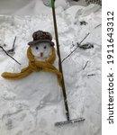 Snowman Made Of Snow Winter...
