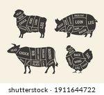 butcher's meat chart  diagram... | Shutterstock .eps vector #1911644722