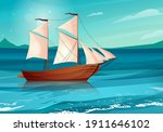 sailing ship with black flags... | Shutterstock .eps vector #1911646102