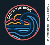 line style vector surfing... | Shutterstock .eps vector #1911655912