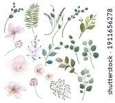 set of elements of flowers and... | Shutterstock .eps vector #1911656278