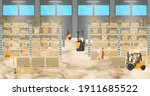 warehouse interior with workers ...   Shutterstock .eps vector #1911685522