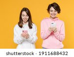 smiling beautiful two young... | Shutterstock . vector #1911688432