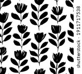 small black brush flower vector ... | Shutterstock .eps vector #1911717538