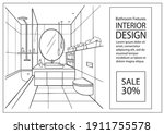 drawing of bathroom interior... | Shutterstock .eps vector #1911755578