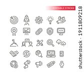 seo line vector icon set.... | Shutterstock .eps vector #1911809218