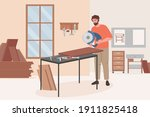 carpenter worker doing woodwork ... | Shutterstock .eps vector #1911825418
