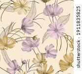 floral seamless pattern  purple ... | Shutterstock .eps vector #1911835825