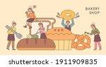 bread shop poster. people... | Shutterstock .eps vector #1911909835