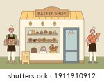 a bread shop and a baker... | Shutterstock .eps vector #1911910912