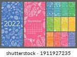 Calendar 2022. Vector English...